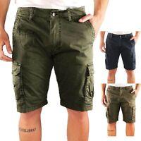 Bermuda Uomo Cargo Cotone Pantalone Corto Jeans Tasconi Laterali  Shorts Casual