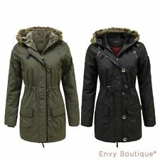 Button Faux Fur No Pattern Coats & Jackets for Women