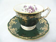 AYNSLEY CUP & SAUCER CROCUS SHAPE EMERALD GREEN  WITH GOLD GILD AND VIOLETS 2917