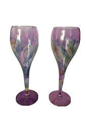 Set Of 2 White Wine Glasses W Rainbow Swirls Iridescent Long Stem