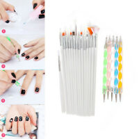 20pcs Nail Art Design Brushes Set Painting Dotting Pen Detailing Bundle Tool Kit