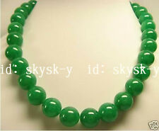 """BEAUTIFUL NATURAL GREEN JADE 20MM ROUND BEADS NECKLACE 18"""""""
