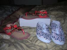 25bd5ad1a3def LOT 2 P NEUVES 40 sandales effet ++doré rouge + baskets jennyf chaussures  femme