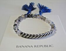 Banana Republic Beaded silver bar elastic tassel Bracelet NWT $44