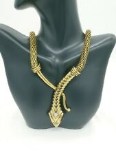Gold tone nobby snake bib choker statement necklace US Seller fashion jewelry