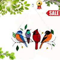 Stained Glass Suncatcher Window Panel Decoration Hanging Multicolor Bird Decor