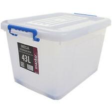 EXTRA LARGE HUGE STRONG PLASTIC STORAGE BOXES WHEELS CLIP LIDS STACKABLE BOX NEW