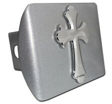 Chrome Cross (Scalloped) on Brushed Chrome Hitch Cover Quality Made in the USA!