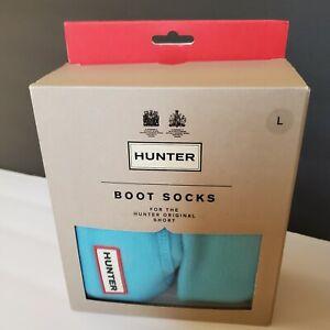 Hunter Short Boot Socks PALE BLUE Winter Fleece Cuff Socks Adult Unisex L NIB