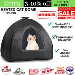 36 x 40cm Portable Heated Cat Dome Orthopedic Foam Core Winter Pet Fleece Bed AU