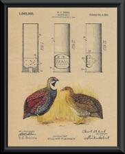 1912 Shotgun Shell Patent & Quail Reprint On 100 Year Old Paper *127