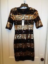 BCBG MAX AZRIA MARTA BLACK AND GOLD SEQUINED DRESS NEW SIZE XXS $338.00