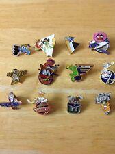 NHL Lot Of 12 Vintage Hockey Pin Disney Muppets Logo Kermit Gonzo Animal Piggy