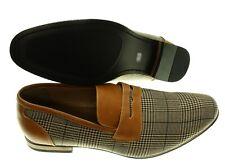 5527c4b92bb NEW - STEVE HARVEY Men s PENNY LOAFER Brown PLAID DRESS SHOES - US 10