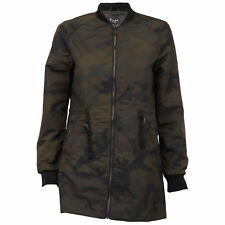 ladies camo long MA1 jacket Brave Soul womens mac trench coat military winter