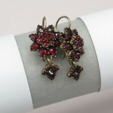 Antique Victorian Bohemian Garnet Dangle Drop Pendant Earrings