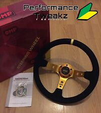Neuf Universel Or OMP 350 mm Suede Deep Dish Racing Volant Sparco Nardi