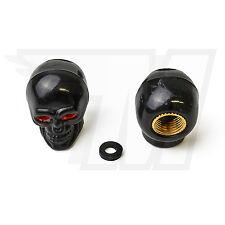 2x Tapón De La Válvula AUS plástico para Neumáticos coche, Cráneo en Negro