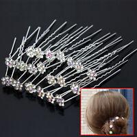 10Pcs Wedding Bridal Rhinestone Flower Crystal Hair Pins Clips Bridesmaid Beauty