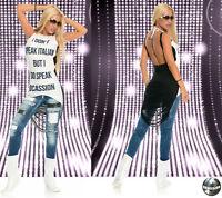 Damenjeans Damen Jeans Risse Sexy Hüftjeans Destroyed Fetzenjeans Blau 34 36 40