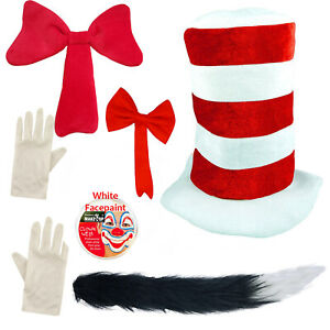 Cat in the Hat Fancy Dress Costume Dr Seuss World Book Day Hat Gloves Face Paint