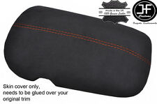 ORANGE STITCH CHARCOAL PU SUEDE ARMREST LID COVER FITS FORD MUSTANG 2015-2017
