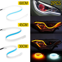 2Pcs 45/60cm Flexible Tube Car LED Strip DRL Daytime Running Light Turn Signal