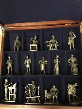 FRANKLIN MINT '74 '75 13 Pc Pewter Figurine People of Colonial America w/ Box