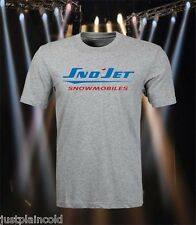 Sno-Jet vintage snowmobile style t-shirt with blue and red style logo