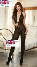 Full BodyStocking for Women Opaque Catsuit Fishnet Crotchless Zipper Crotch Zip