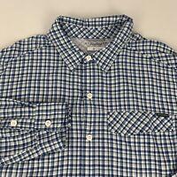 Columbia Button Front Shirt Men's XL Blue Checks Omni-Shade Long Sleeve Nylon