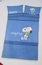 HERDING Peanuts Kinder-Renforcé- Wende-Bettwäsche 100 x 135 cm, Farbe Blau