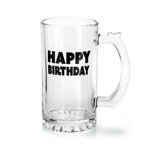 GENERIC Happy Birthday Quality Beer Stein Glass Enjoy Drinking w/ Touch of Class
