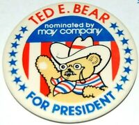 1980 MAY COMPANY TED E BEAR campaign pin pinback button teddy roosevelt theodore