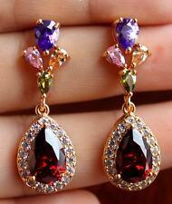 18K Yellow Gold Filled - 8*12mm Ruby Topaz Flower Leaf Women Stud Party Earrings