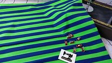 50cm blue and green stripe cotton lycra 95/5 fabric 4 way stretch knit fabric
