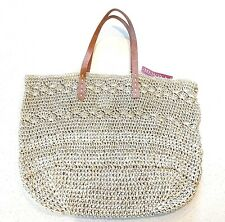 NEW Merona Oversized Natural / Beige Floppy Croched Paper Tote Bag FREE SHIPPING