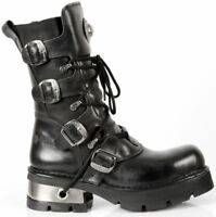 New Rock Newrock M.373-S1 Metallic Black Leather Gothic Punk Unisex Boots