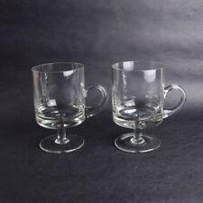 2 x Clear Glass Pedestal Cups Mugs Parfait Dessert Drink Ice Cream