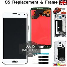 For Samsung Galaxy S5 i9600 G900F LCD Display Touch Screen Digitizer Frame White