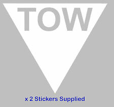 2 x triangle-blanc tow Flèche course / rallye voiture stickers / autocollants