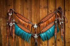 Western Brown Leather Set of 2 Hand Carved Set of Headstall and Breast Collar