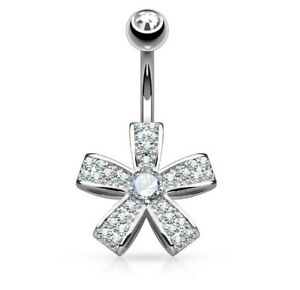 TITANIUM - 5 Petal Flower Crystal Belly Bar - Bar Length: 6mm 8mm 10mm 12mm 14mm