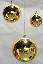 "24 LARGE SHINY 2"" GOLD CHRISTMAS BALLS OUTDOOR PLASTIC ORNAMENTS 50MM"