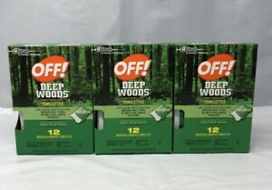 OFF! Deep Woods Insect Bug Repellent Wipes 12 Towelettes 25% Deet (3 Packs)
