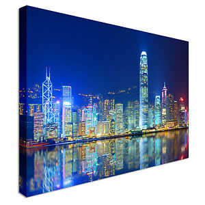 Victoria harbour hong kong night Canvas Wall Art Picture Print
