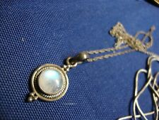 Sterling Silver Necklace India Moonstone Estate 925