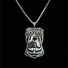❤️ Halskette mit Anhänger Shar Pei, Hundekopf pendant, necklace Farbe SILBER