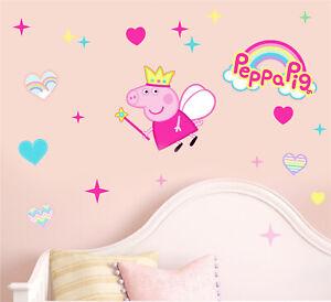 Fairy Peppa Pig Wall Art Stickers Boys Girls George Nursery Bedroom