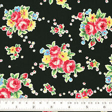 100% Cotton Fabric by FQ Rose Floral Bouquet Shabby Vintage Retro Chic Dress VR4